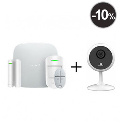 Ajax StarterKit – Комплект беспроводной GSM-сигнализации + IP Камера EZVIZ C1C White 1Mp