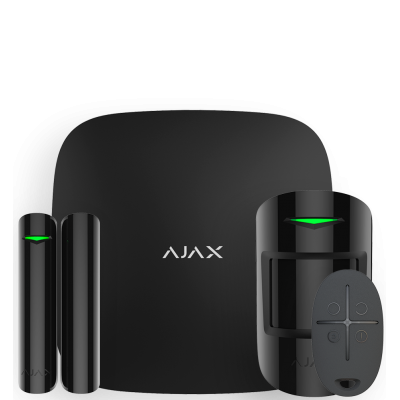 Ajax StarterKit Plus – Комплект беспроводной сигнализации с централью второго поколения – черный