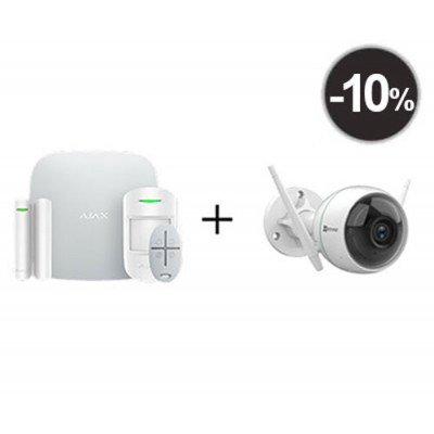 Ajax StarterKit – Комплект беспроводной GSM-сигнализации + Уличная камера 2МП с усиленным Wi‑Fi сигналом EZVIZ C3WN