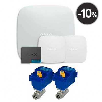 "Ajax Hub + LeaksProtect (2шт) + WallSwitch + 2 крана с электроприводом neptun bugatti pro 220в 1/2"""