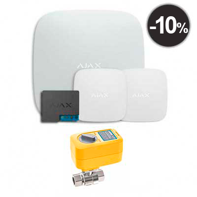 "Ajax Hub + LeaksProtect (2шт) + WallSwitch + кран с электроприводом Neptun Profi 220в 1/2"""