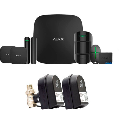 Ajax StarterKit + LeaksProtect (2шт) + WallSwitch (2шт) + кран с электроприводом Honeywell 220 Duo