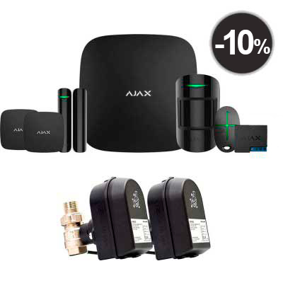 Ajax StarterKit Plus + LeaksProtect (2шт) + WallSwitch (1шт) + кран с электроприводом Honeywell 220 Duo
