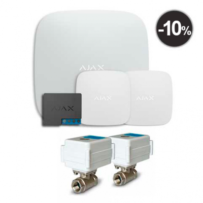 "Ajax Hub + LeaksProtect (2шт) + WallSwitch + 2 кранa с электроприводом Neptun AquaControl 220 1/2"""